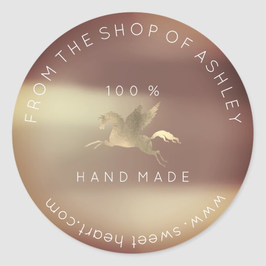 Handmade Logo Name Web Pegasus Rose Copper Gold