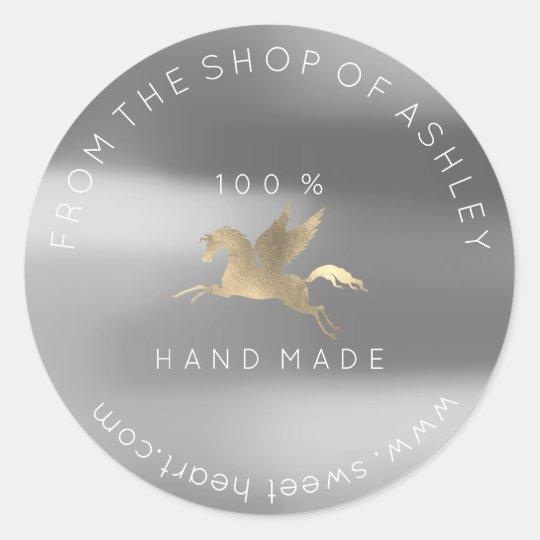 Handmade Logo Name Web Pegasus Silver Gray Gold