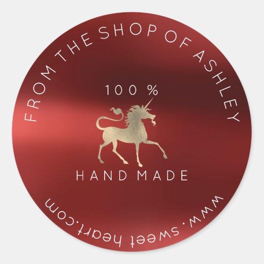 Handmade Logo Name Web Unicorn Burgundy Gold Classic