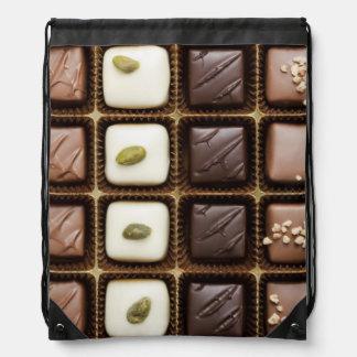 Handmade luxury chocolate in a box drawstring backpack