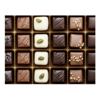 Handmade luxury chocolate in a box postcard