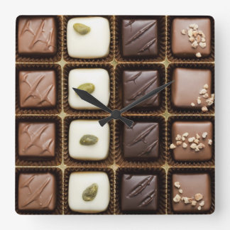 Handmade luxury chocolate in a box square wall clock