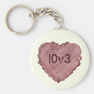 Handmade Paper Heart 009 Basic Round Button Key Ring