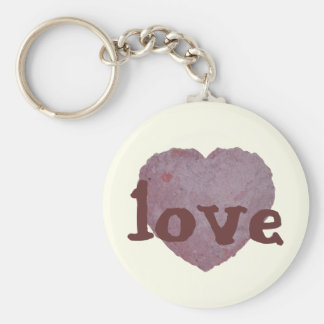 Handmade Paper Heart 010 Basic Round Button Key Ring