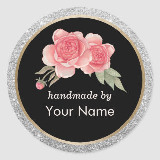 Handmade Product Modern Floral Deco Business Round Sticker