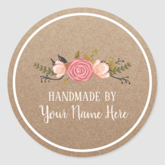 Handmade Product Vintage Floral Rustic Kraft Classic Round Sticker