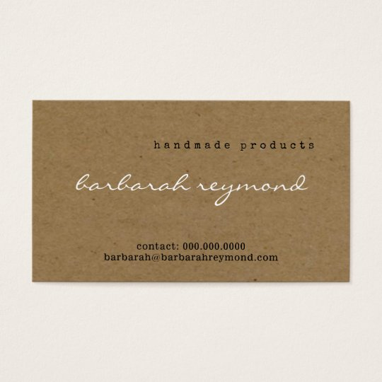 handmade products visit-card on faux kraft texture business