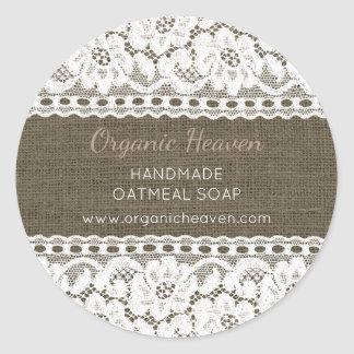 Handmade Soap Label Rustic Burlap Lace Custom