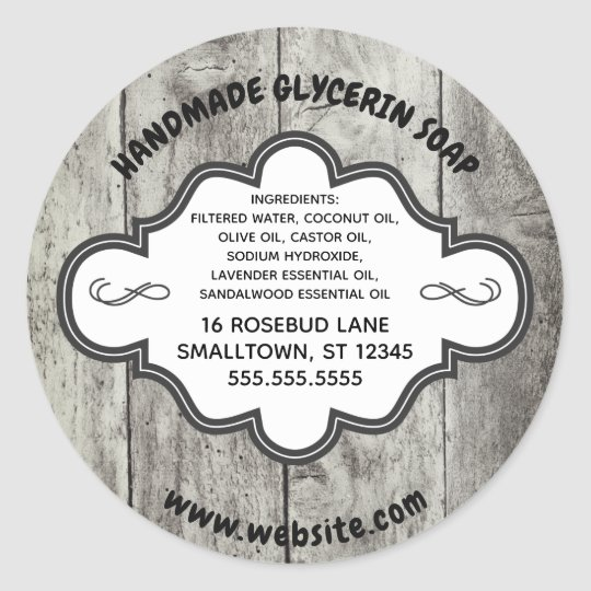 Handmade Soap Label Rustic Grey Wood Custom