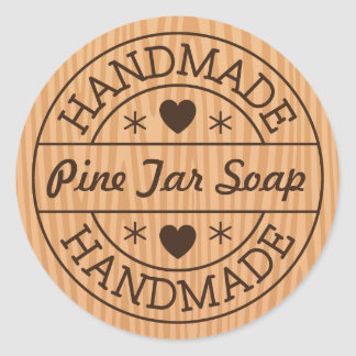 Handmade stamp on wood custom product name classic round sticker