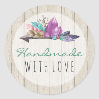 Handmade With Love Bohemian Watercolor Crystals Classic Round Sticker