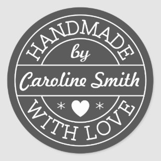 Handmade with love by personalized name, dark gray classic round sticker