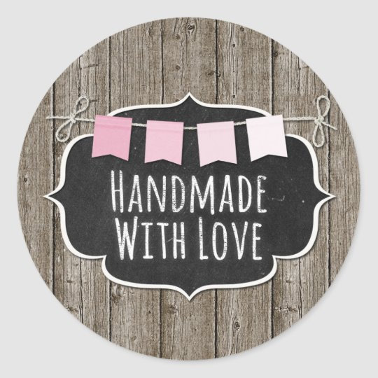 Handmade With Love Chalkboard Product Packaging Round Sticker