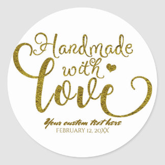 Handmade with Love Chic Gold Faux Foil Look Custom Classic Round Sticker