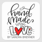Handmade with Love, Customisable Square Sticker