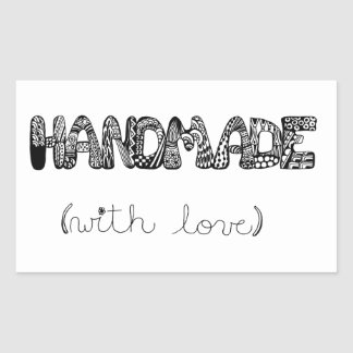 Handmade With Love Doodle Art Rectangular Sticker