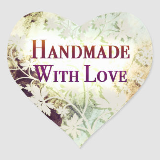 Handmade With Love heart stickers (naturals)