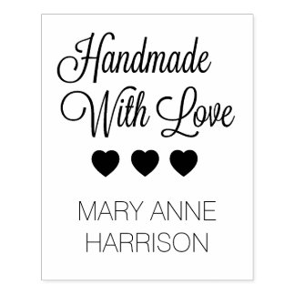 Handmade With Love Hearts Personalized Rubber Stamp