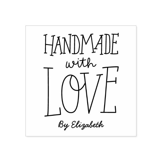 Handmade With Love Personalised Rubber Stamp