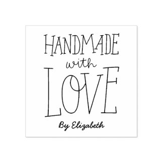Handmade With Love Personalized Rubber Stamp