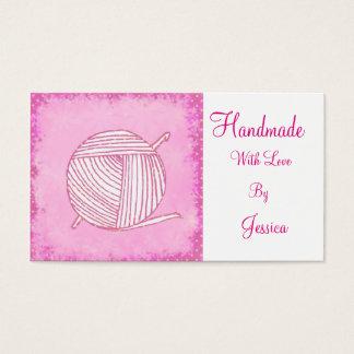 Handmade with love pink crochet business card
