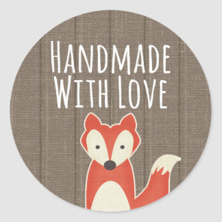 Handmade With Love Red Fox on Rustic Wood Kids Classic Round Sticker