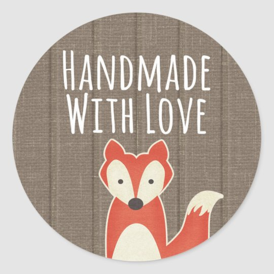 Handmade With Love Red Fox on Rustic Wood