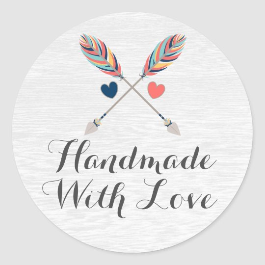 Handmade With Love Rustic Arrow Bohemian Packaging Round