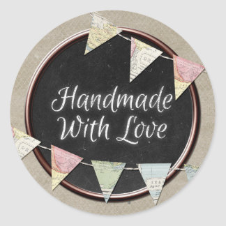 Handmade With Love Rustic Chalkboard Vintage Map Classic Round Sticker