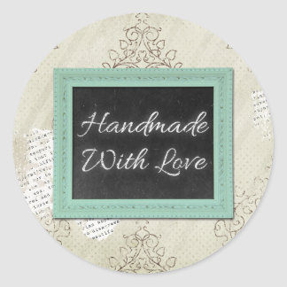 Handmade With Love Rustic Vintage Chalkboard Classic Round Sticker