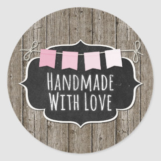 Handmade With Love Rustic Wood & Shabby Chic Chalk Classic Round Sticker
