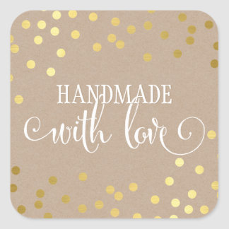 HANDMADE WITH LOVE SEAL modern gold confetti kraft Square Sticker