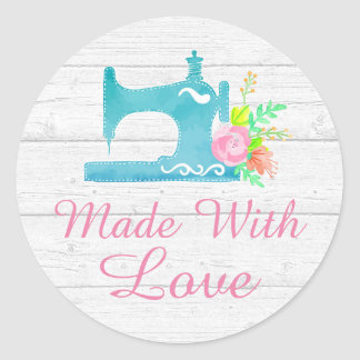 Handmade With Love Sewing Machine Rustic Wood Round Sticker