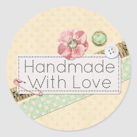 Handmade With Love Sewing Stitches & Buttons Classic