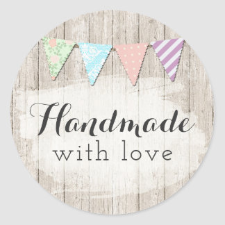 Handmade With Love Shabby Chic Rustic Bunting Classic Round Sticker
