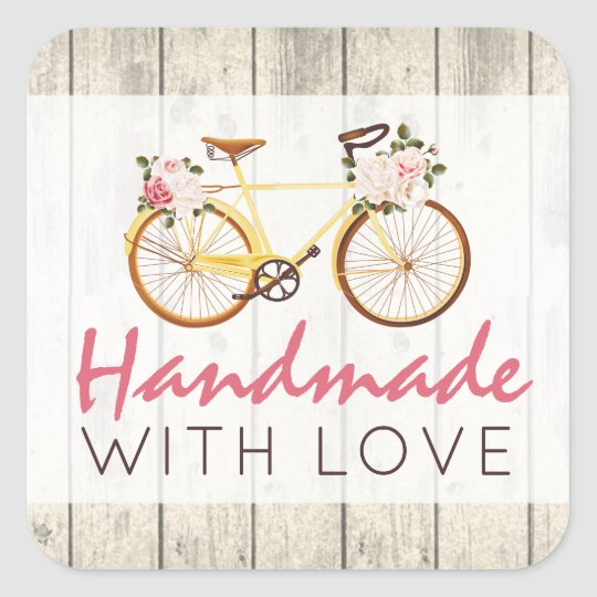 Handmade With Love Shabby Chic Vintage Bicycle Square