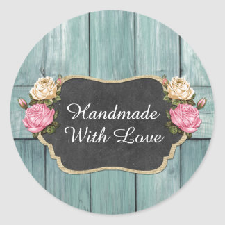 Handmade With Love Shabby Vintage Roses Rustic Classic Round Sticker