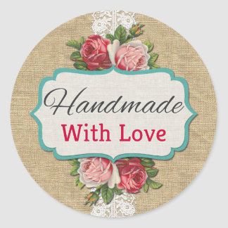 Handmade With Love Vintage Roses Product Packaging Round Sticker