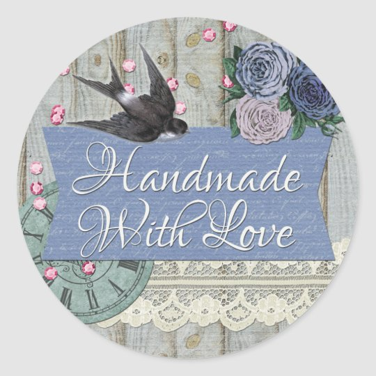 Handmade With Love Vintage Swallow Bird Shabby Classic