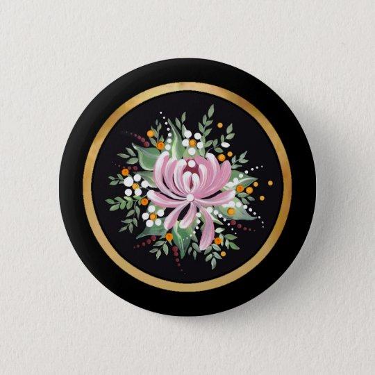 Handpainted Chrysanthemum 6 Cm Round Badge