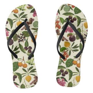 Handpainted Colorful Rustic Tropical Fruit Pattern Flip Flops