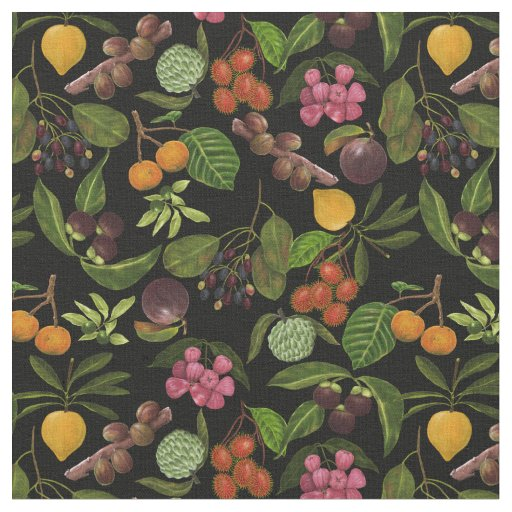 Handpainted Colourful Exotic Tropical Fruit Fabric
