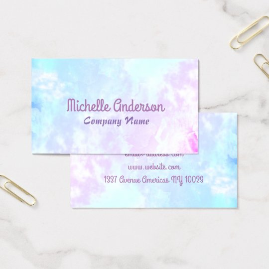 Handpainted colourful multicolored watercolor business card