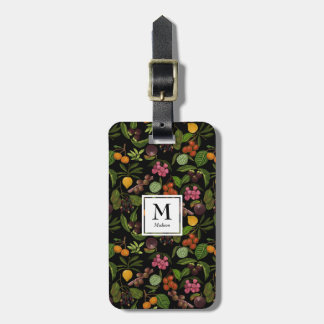 Handpainted Exotic Tropical Fruits Monogram Luggage Tag