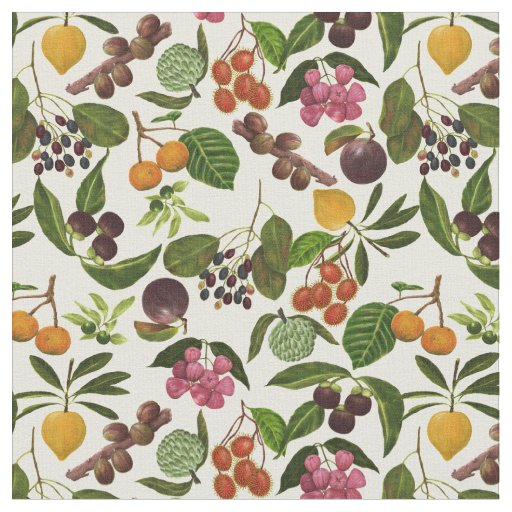 Handpainted Exotic Tropical Fruits Pattern Fabric
