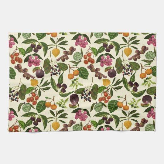Handpainted Exotic Tropical Fruits Pattern Tea Towel