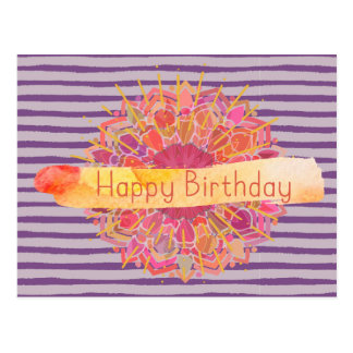 Handpainted Look Burst of Color HappyBirthday Postcard