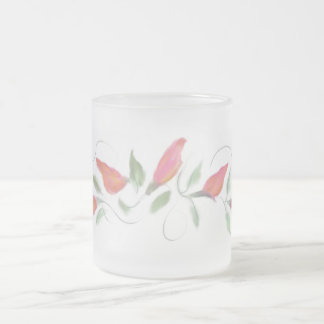 Handpainted Look Flowers Coral Frosted Glass Mug