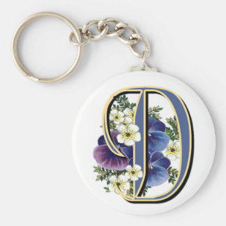 Handpainted Pansy IInitial - D Key Ring