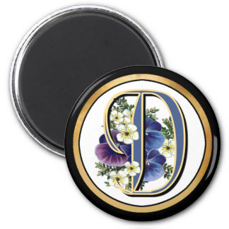 Handpainted Pansy IInitial - D Magnet